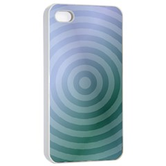 Teal Background Concentric Apple Iphone 4/4s Seamless Case (white)