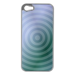 Teal Background Concentric Apple Iphone 5 Case (silver)