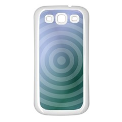 Teal Background Concentric Samsung Galaxy S3 Back Case (white)