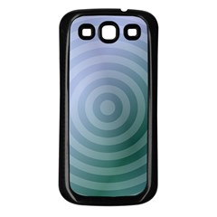 Teal Background Concentric Samsung Galaxy S3 Back Case (black)
