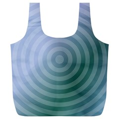Teal Background Concentric Full Print Recycle Bags (l)