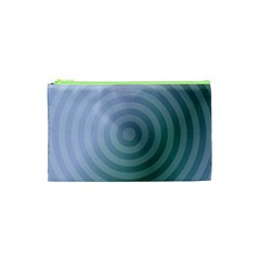 Teal Background Concentric Cosmetic Bag (xs)