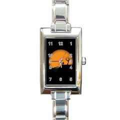 Couple Dog View Clouds Tree Cliff Rectangle Italian Charm Watch