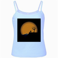 Couple Dog View Clouds Tree Cliff Baby Blue Spaghetti Tank
