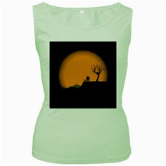 Couple Dog View Clouds Tree Cliff Women s Green Tank Top