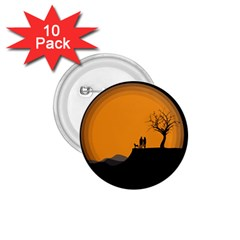 Couple Dog View Clouds Tree Cliff 1 75  Buttons (10 Pack)