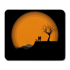Couple Dog View Clouds Tree Cliff Large Mousepads
