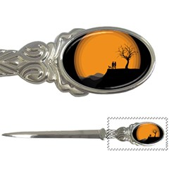 Couple Dog View Clouds Tree Cliff Letter Openers