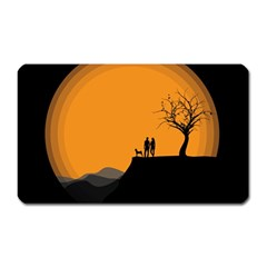 Couple Dog View Clouds Tree Cliff Magnet (rectangular)
