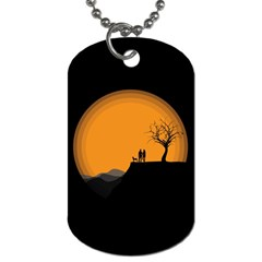 Couple Dog View Clouds Tree Cliff Dog Tag (one Side)