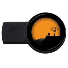 Couple Dog View Clouds Tree Cliff Usb Flash Drive Round (2 Gb)