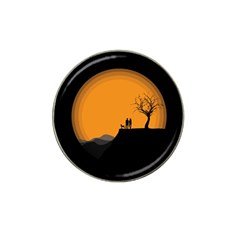 Couple Dog View Clouds Tree Cliff Hat Clip Ball Marker