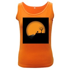 Couple Dog View Clouds Tree Cliff Women s Dark Tank Top