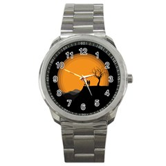 Couple Dog View Clouds Tree Cliff Sport Metal Watch