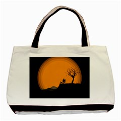 Couple Dog View Clouds Tree Cliff Basic Tote Bag