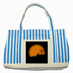 Couple Dog View Clouds Tree Cliff Striped Blue Tote Bag