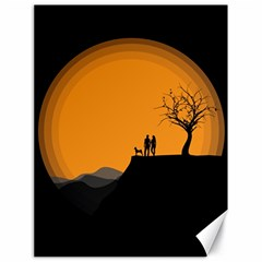 Couple Dog View Clouds Tree Cliff Canvas 18  X 24