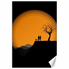 Couple Dog View Clouds Tree Cliff Canvas 24  X 36