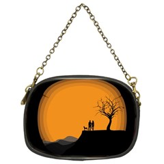 Couple Dog View Clouds Tree Cliff Chain Purses (two Sides)