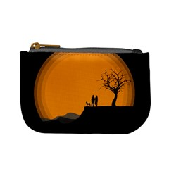 Couple Dog View Clouds Tree Cliff Mini Coin Purses