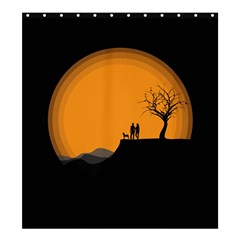 Couple Dog View Clouds Tree Cliff Shower Curtain 66  X 72  (large)