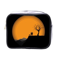 Couple Dog View Clouds Tree Cliff Mini Toiletries Bags
