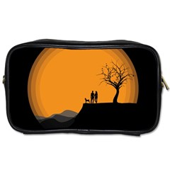 Couple Dog View Clouds Tree Cliff Toiletries Bags