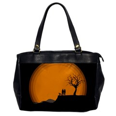 Couple Dog View Clouds Tree Cliff Office Handbags