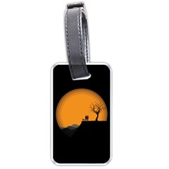Couple Dog View Clouds Tree Cliff Luggage Tags (two Sides)