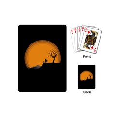 Couple Dog View Clouds Tree Cliff Playing Cards (mini)