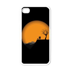 Couple Dog View Clouds Tree Cliff Apple Iphone 4 Case (white)