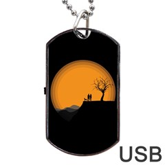 Couple Dog View Clouds Tree Cliff Dog Tag Usb Flash (one Side)