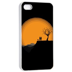 Couple Dog View Clouds Tree Cliff Apple Iphone 4/4s Seamless Case (white)