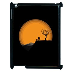 Couple Dog View Clouds Tree Cliff Apple Ipad 2 Case (black)