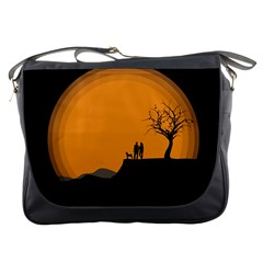 Couple Dog View Clouds Tree Cliff Messenger Bags