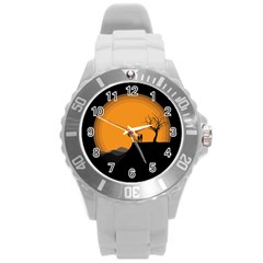 Couple Dog View Clouds Tree Cliff Round Plastic Sport Watch (l)