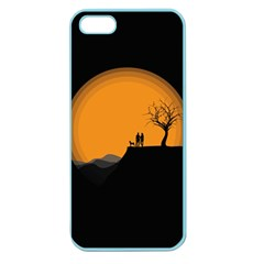 Couple Dog View Clouds Tree Cliff Apple Seamless Iphone 5 Case (color)