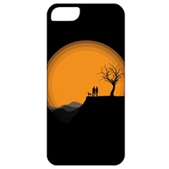 Couple Dog View Clouds Tree Cliff Apple Iphone 5 Classic Hardshell Case