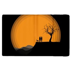 Couple Dog View Clouds Tree Cliff Apple Ipad 2 Flip Case