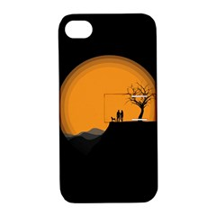 Couple Dog View Clouds Tree Cliff Apple Iphone 4/4s Hardshell Case With Stand