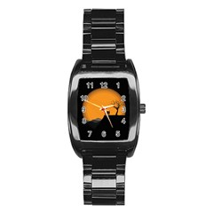 Couple Dog View Clouds Tree Cliff Stainless Steel Barrel Watch