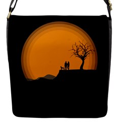 Couple Dog View Clouds Tree Cliff Flap Messenger Bag (s)
