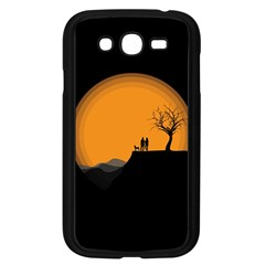 Couple Dog View Clouds Tree Cliff Samsung Galaxy Grand Duos I9082 Case (black)