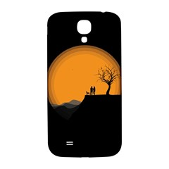 Couple Dog View Clouds Tree Cliff Samsung Galaxy S4 I9500/i9505  Hardshell Back Case