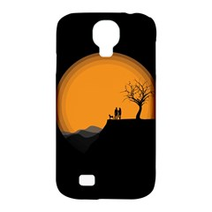 Couple Dog View Clouds Tree Cliff Samsung Galaxy S4 Classic Hardshell Case (pc+silicone)