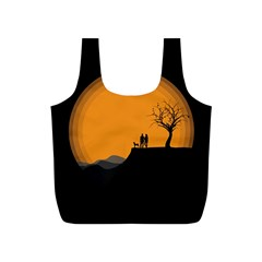 Couple Dog View Clouds Tree Cliff Full Print Recycle Bags (s)