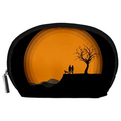 Couple Dog View Clouds Tree Cliff Accessory Pouches (large)