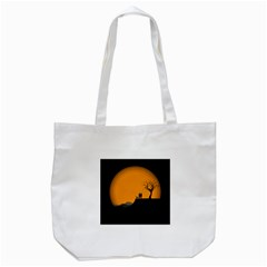 Couple Dog View Clouds Tree Cliff Tote Bag (white)