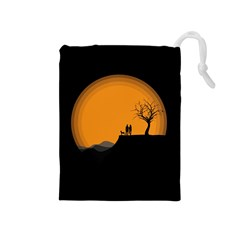 Couple Dog View Clouds Tree Cliff Drawstring Pouches (medium)