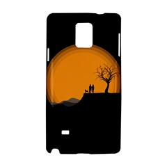Couple Dog View Clouds Tree Cliff Samsung Galaxy Note 4 Hardshell Case